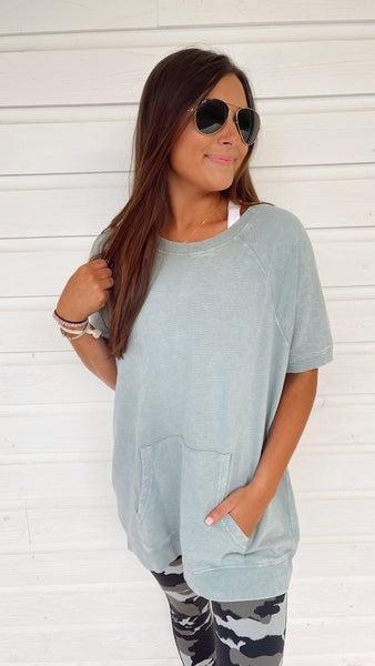 So Much To Say Sage Casual Top