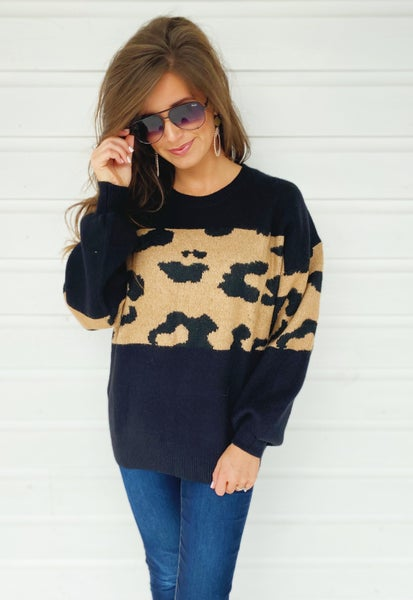 Rachel Animal Print Sweater- Black