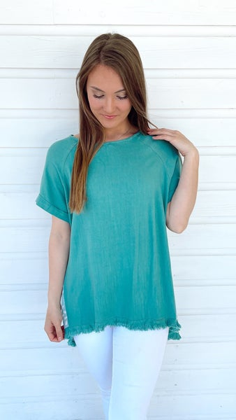 Jade Frayed Edge Spotted Top