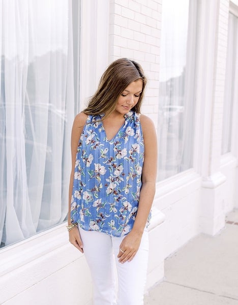 Give It Your All Blue Floral Top