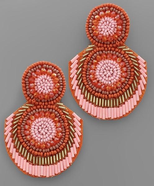 Fondest Memory Beaded Trim Earrings-coral