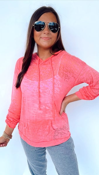 Cuddle Up Lightweight Hoodie- Coral *Final Sale*