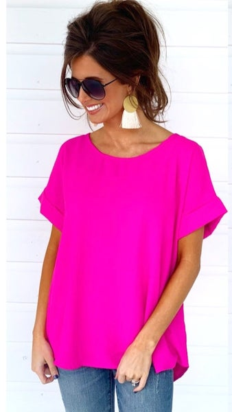Cool Day Cuff Sleeve Top- Pink