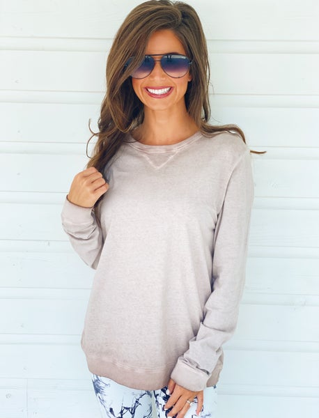 Dusty Pink Mineral Washed Pullover