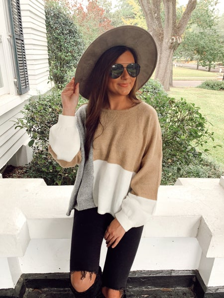 Claire Taupe and Grey Colorblock Top