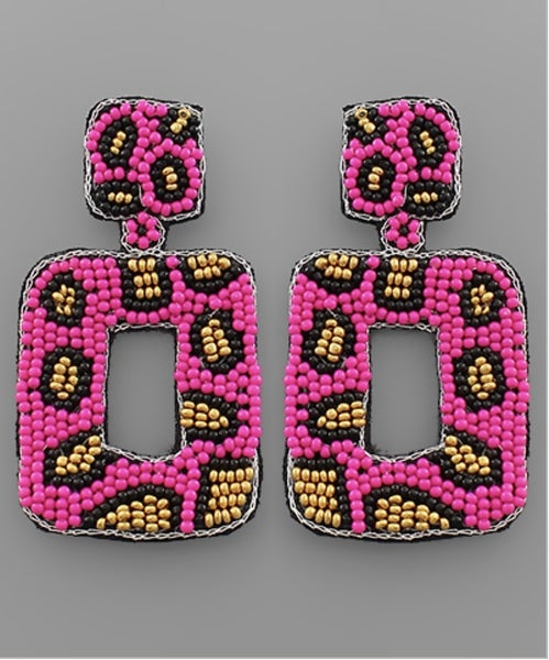 Let It Be Me Leopard Beaded Earrings