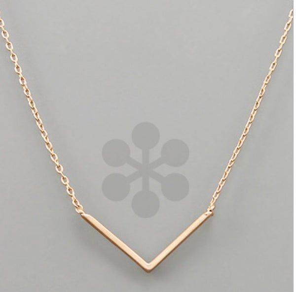 V Pendant Necklace- Rose Gold