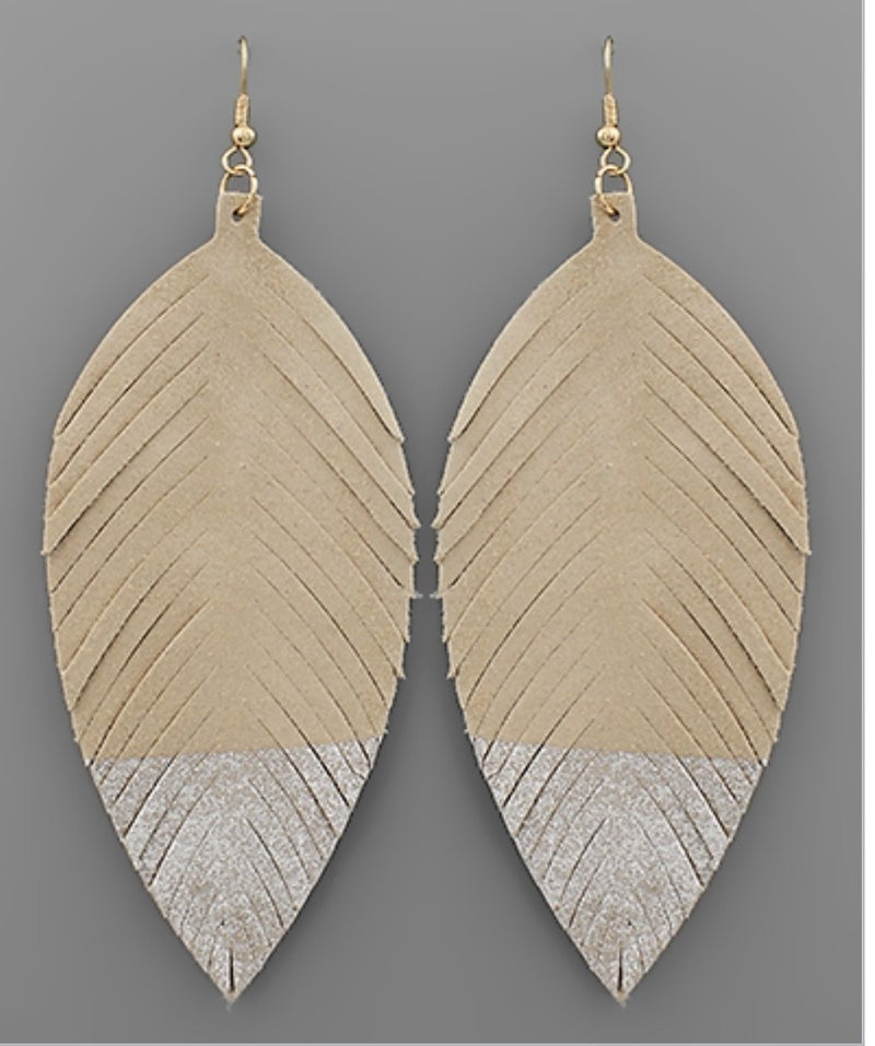 Glitter Leather Feather Earrings