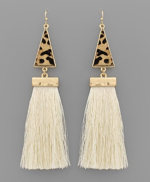 Leah Leopard & Ivory Tassel Earrings