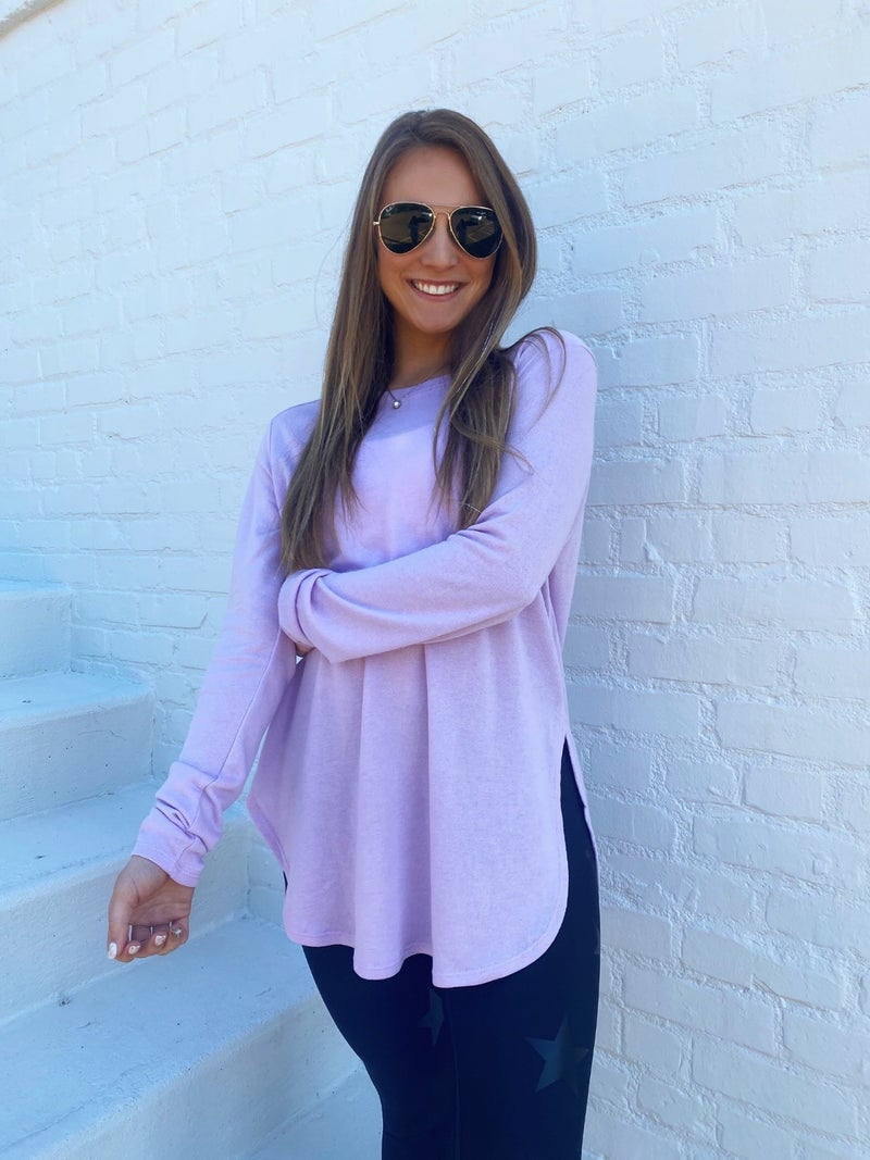 Sadie Side Slit Top- Lavender