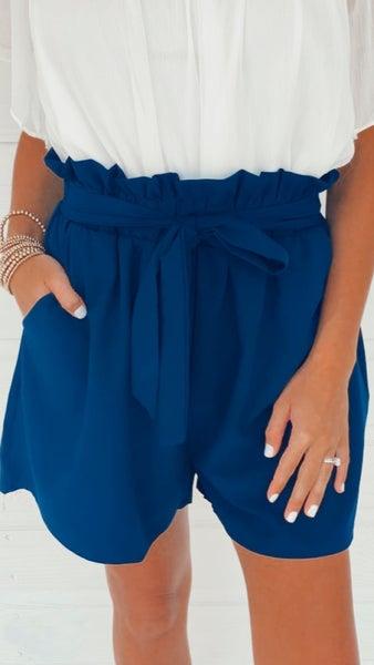 Darbie Tie Front Shorts- Navy