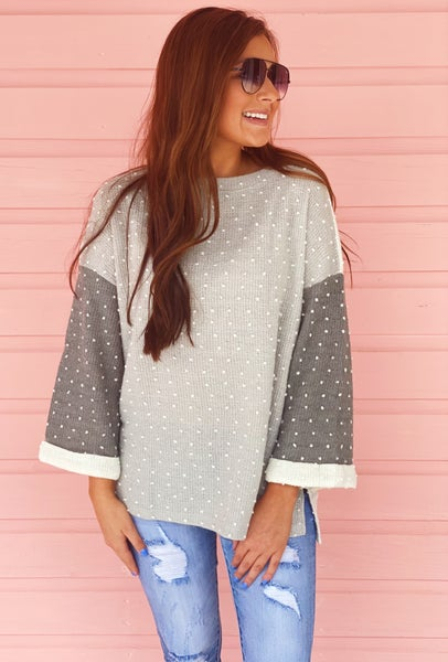Light Sage Spotted Sweater