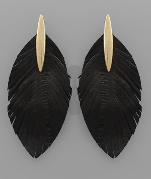 Black Leather Feather Bar Earrings