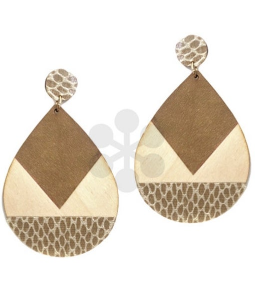 Stay Neutral Wooden Teardrop Earrings