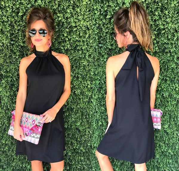 Hayden Halter Neck Dress- Black