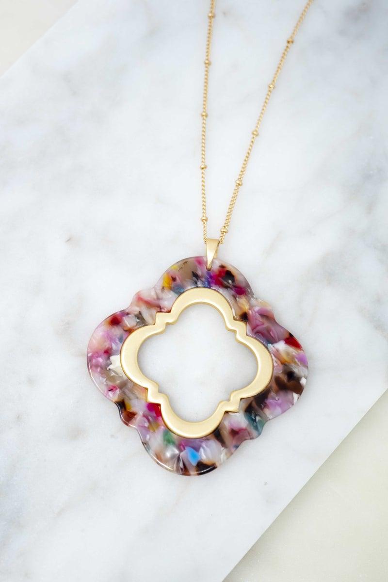 Acrylic Multicolored Quatrefoil Necklace
