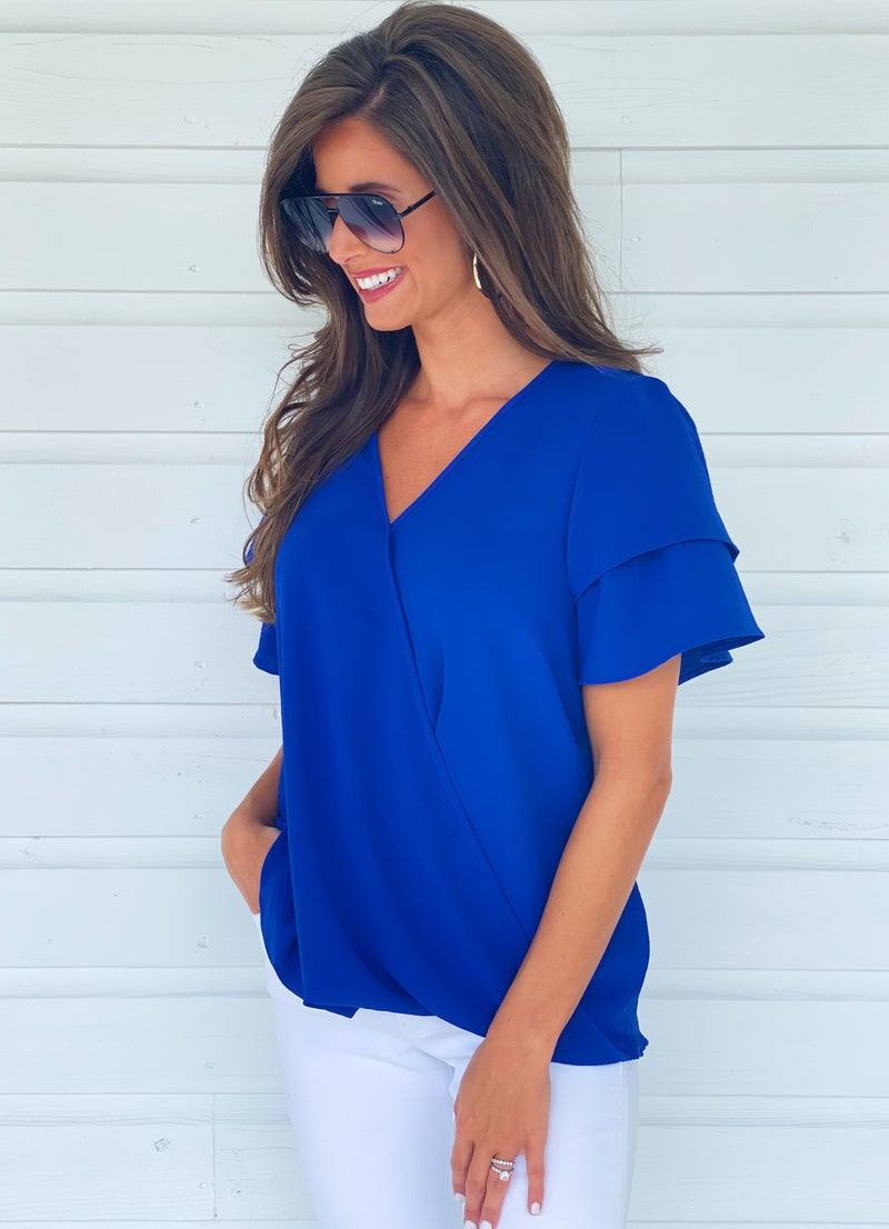 Royal Blue Ruffle Sleeve Top