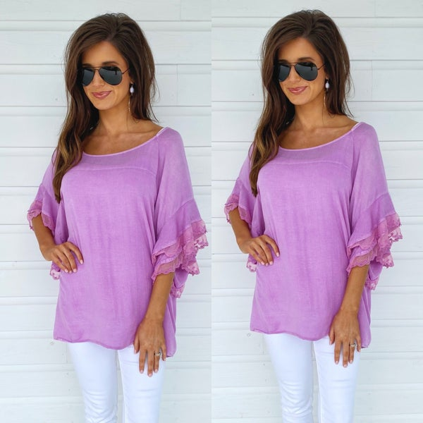 Distressed Lavender Top