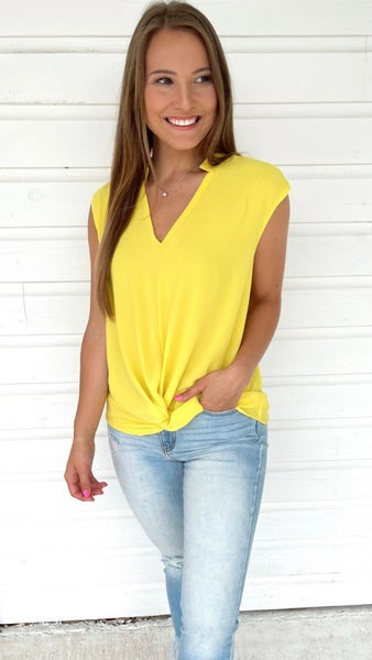 Keep It Cool Knotted Top -Pineapple