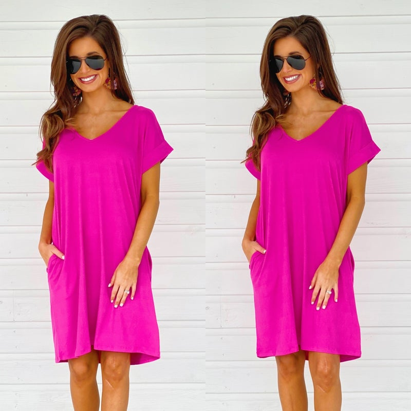 Fall Into Me Fushcia Pocket Dress