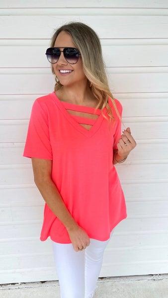 Vanessa V-Neck Top- Neon Pink
