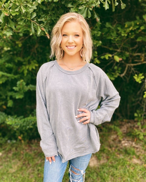 Keep Them Guessing Grey Pullover