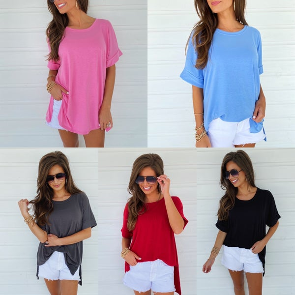 Cuffed Short Sleeve Tops