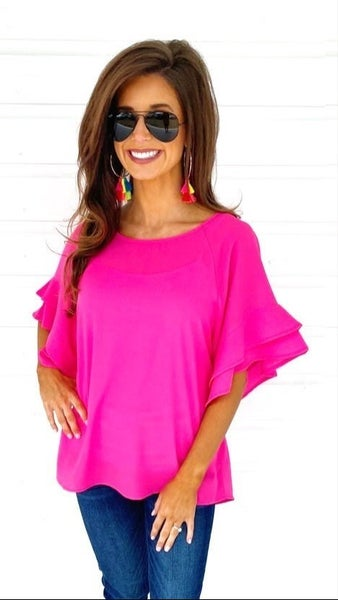 Hot Pink Bell Sleeve Top