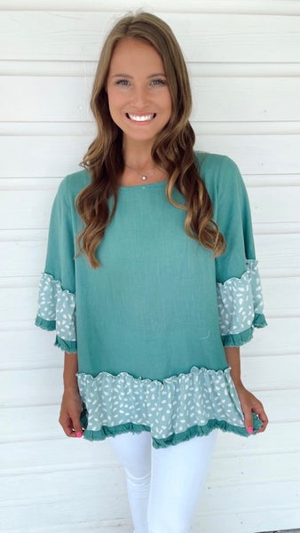 Spotted in Jade Frayed Hem Top