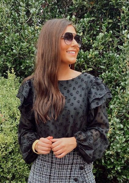 Brielle Black Textured Top