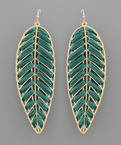 Thrilling Threaded Leaf Earrings- Deep Green
