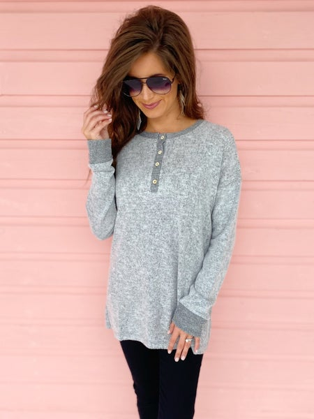 Heather Grey Button Up Top