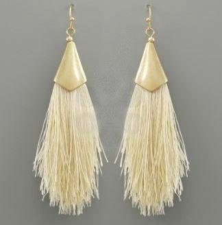 Dainty Ivory Tassel Earrings