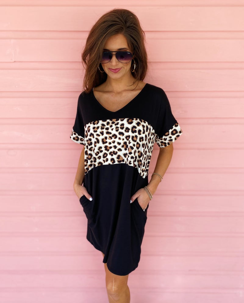 Cheetah Sister Dress- Black