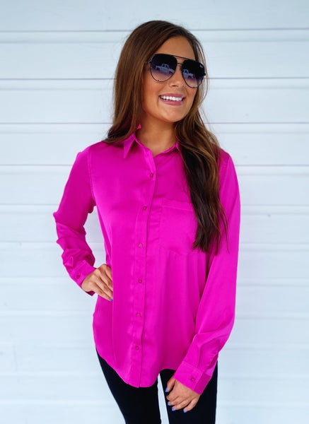Flaming Hot Pink Button Up Top