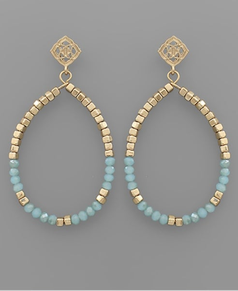 Beaded Wonder Teardrop Earrings-Mint