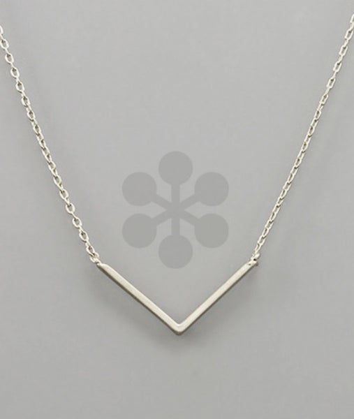 V Pendant Necklace- Silver