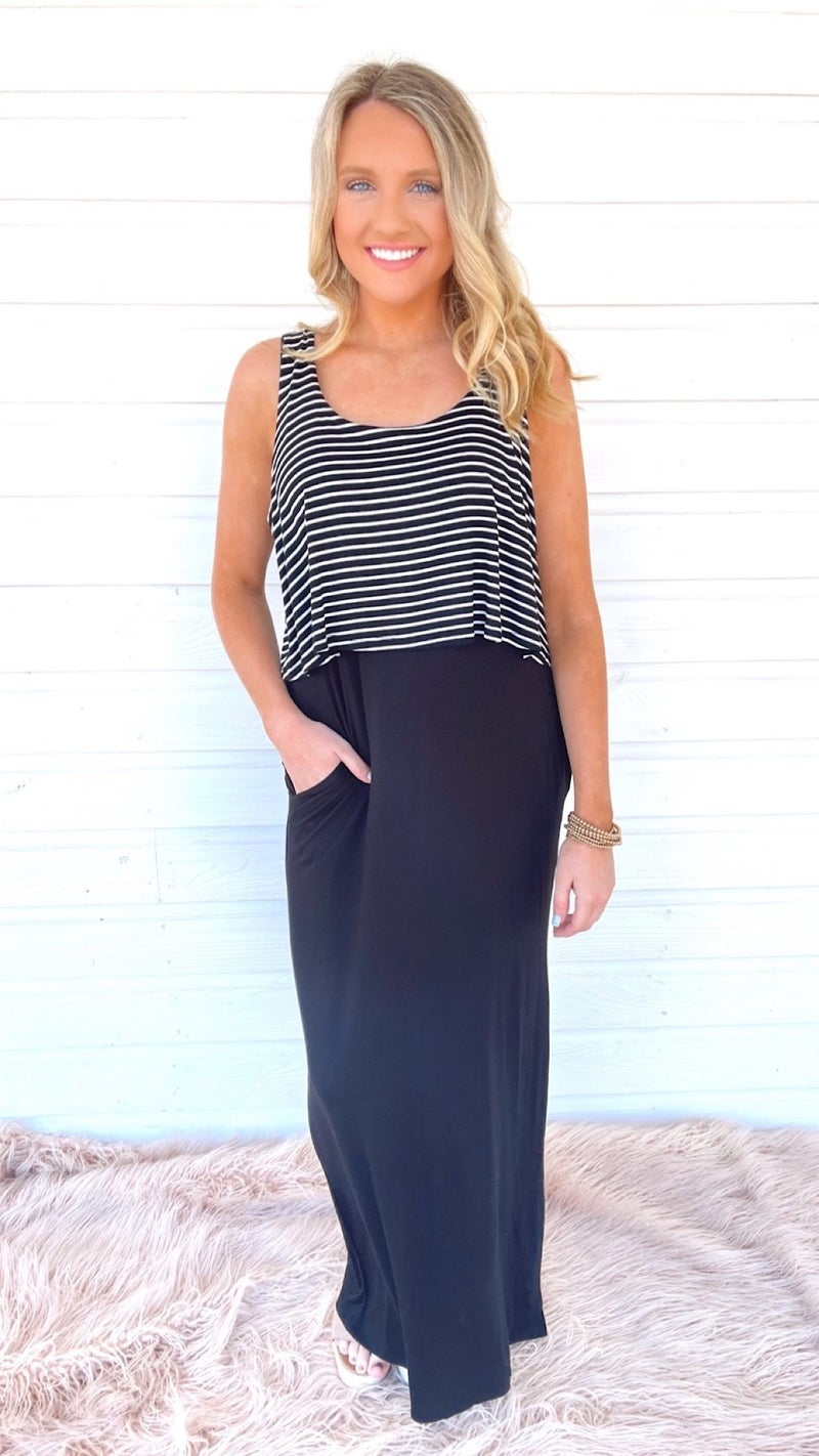 Once In A Lifetime Striped Maxi Dress