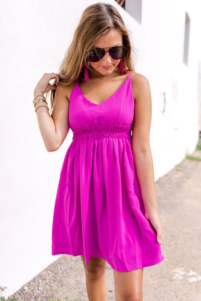 Walking On Sunshine Dress- Magenta