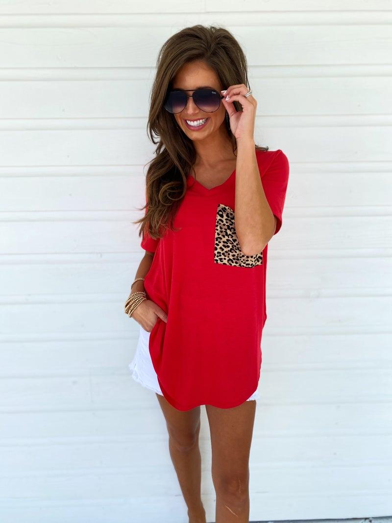 Leopard Pocket Top- Red