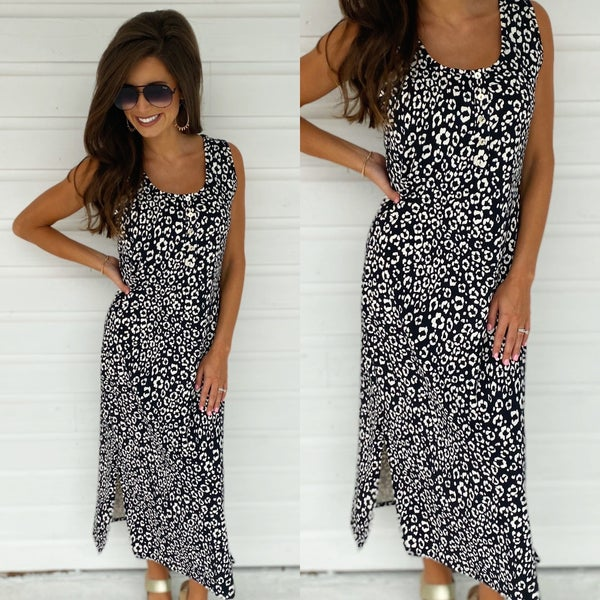 Black Spotted Maxi Dress