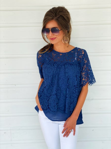 Navy Floral Lace Top