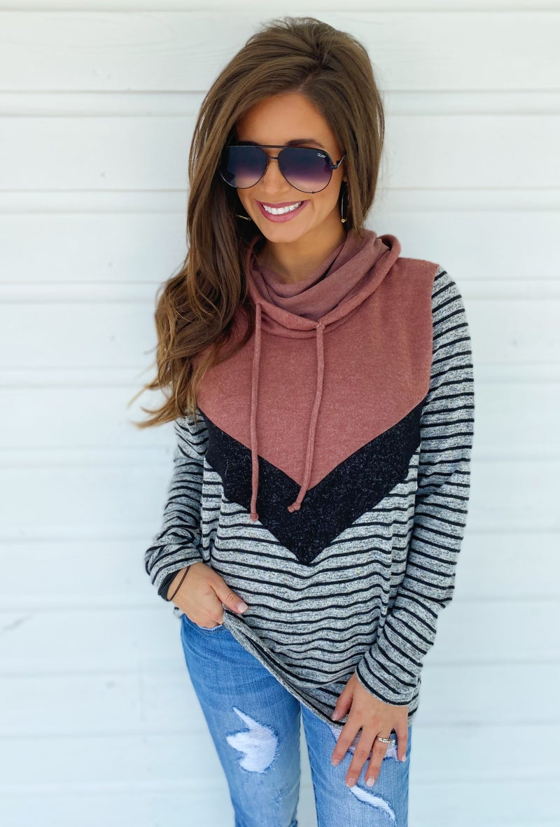 Leaves Are Falling Color Block Sweater