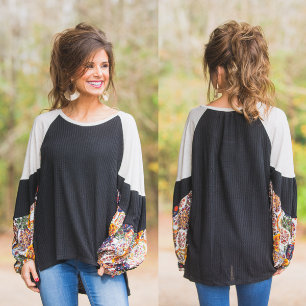 Florence Black Waffle Top with Contrast Sleeves