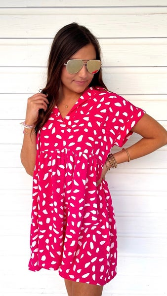 You're A Babe Spotted Dress- Hot Pink