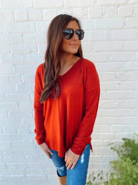 Ella Rust V-Neck Sweater *Final Sale*