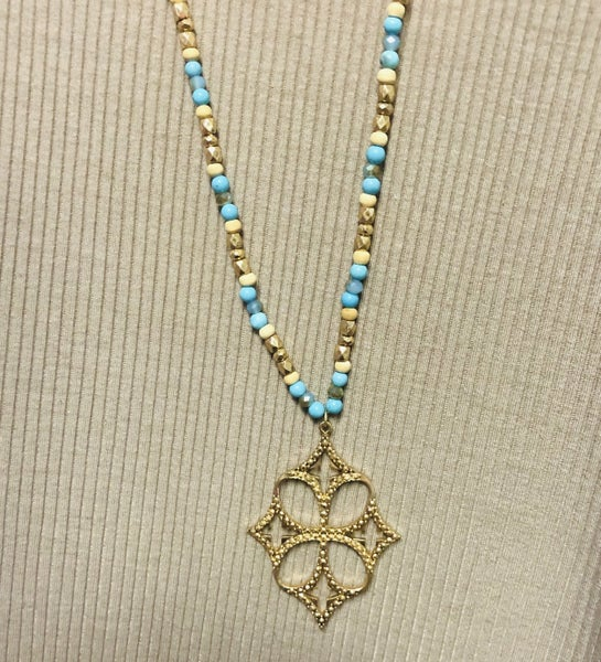 Be Bold Beaded Gold Cross Necklace- Turquoise