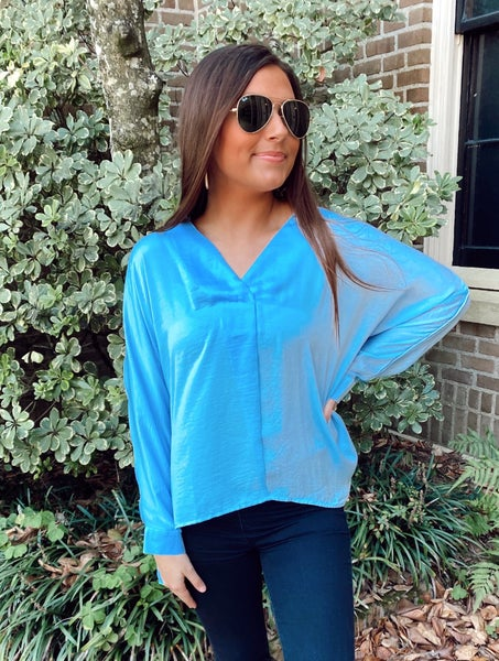 Anywhere with You Satin Top- Ice Blue