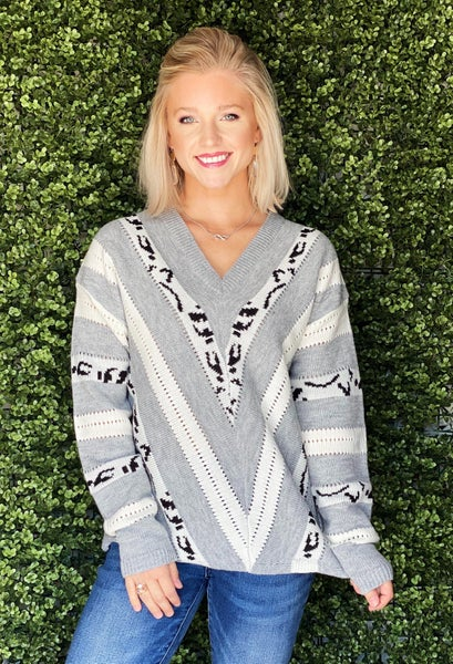 Pretty In Zebra Print Sweater *Final Sale*