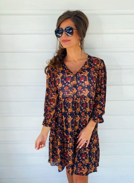 In The Know Floral Dress- Dark Plum